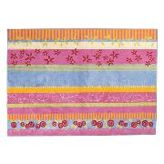 Pink Flower Striped Rug