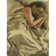 Cream Satin King Duvet Cover, Fitted Sheet and 4 Pillowcases Bedding