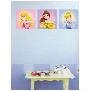 Disney Princess Wall Stickers Art Squares 3 Large Pieces