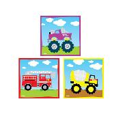 Tonka Fire Engine Monster Truck Cement Mixer Wall Art Squares