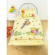 Winnie the Pooh Duvet Cover and Pillowcase 'Blustery Days' Design Rotary Print Bedding
