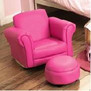 Pink Rocker Chair and Footstool