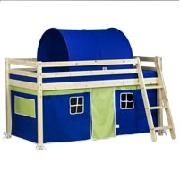 Wooden Mid Sleeper Bed Frame with Blue Tent