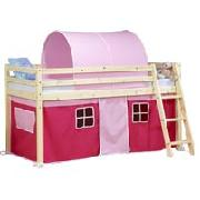 Wooden Mid Sleeper Bed Frame with Pink Tent