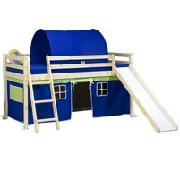 Wooden Mid Sleeper Bed Frame with Slide and Blue Tent
