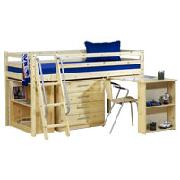 Wooden Mid Sleepter Bed Frame with Desk and 4 Drawer Chest