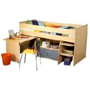 Wooden Mid Sleepter Bed with Desk and Cupboard