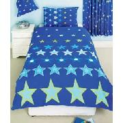 Bright Stars Single Duvet Cover Set with Curtains - Blue