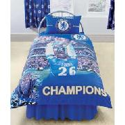 Chelsea Champions Fc Single Duvet Cover Set - Blue