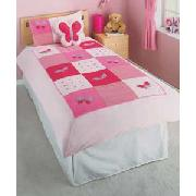 Emily Single Duvet Cover Set with Cushion - Pink