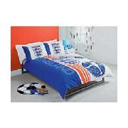 England Football Double Duvet Cover Set - Blue and White