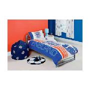 England Football Single Duvet Cover Set - Blue and White