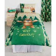 Grizzly Bear Single Duvet Cover Set with Curtains - Green