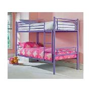 Lilac Metal Bunk Bed with Sprung Mattress