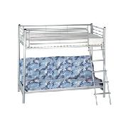 Metal Bunk Bed with Blue Camouflage Futon Mattress