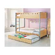 Oslo Single Bunk Bed with Trundle and Firm Mattresses