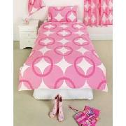 Overlapping Circles Single Duvet Set with Curtains - Pink