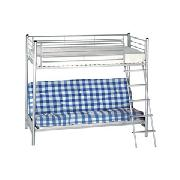 Silver Metal Bunk Bed with Blue Check Futon Mattress