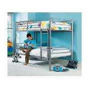 Silver Metal Bunk Bed with Firm Mattress