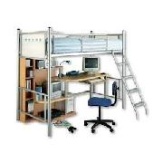 Silver Single High Sleeper with Shelving and Desk