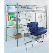 Silver Sleep and Sit High Sleeper with Desk and Blue Futon
