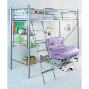 Silver Sleep and Sit High Sleeper with Desk and Lilac Futon