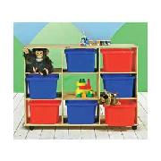 Solid Pine 3 x 3 Multi Toy Unit On Wheels