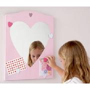 Pink Heart Mirror Magnet Board