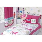 Silhouette Horses Tab Top Lined Curtains