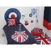 Union Jack Guitar Print Lined Curtains