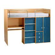 Brooklyn Captains Bed, Blue and Beech Effect