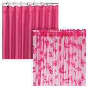 Kids' Curtains, Pink and Flocked Butterfly Voile