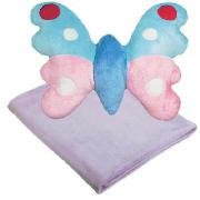 Kids' Supersoft Throw and Butterfly Shaped Cushion