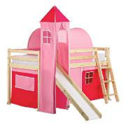 Pine Mid Sleeper and Slide with Pink Tower, Tent and Tunnel, Natural Laquered