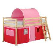 Pine Mid Sleeper with Pink Tent and Tunnel, Natural Laquered